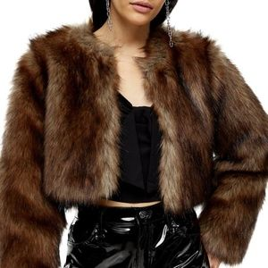 TOPSHOP Chubby Faux Fur Cropped Coat new with tags